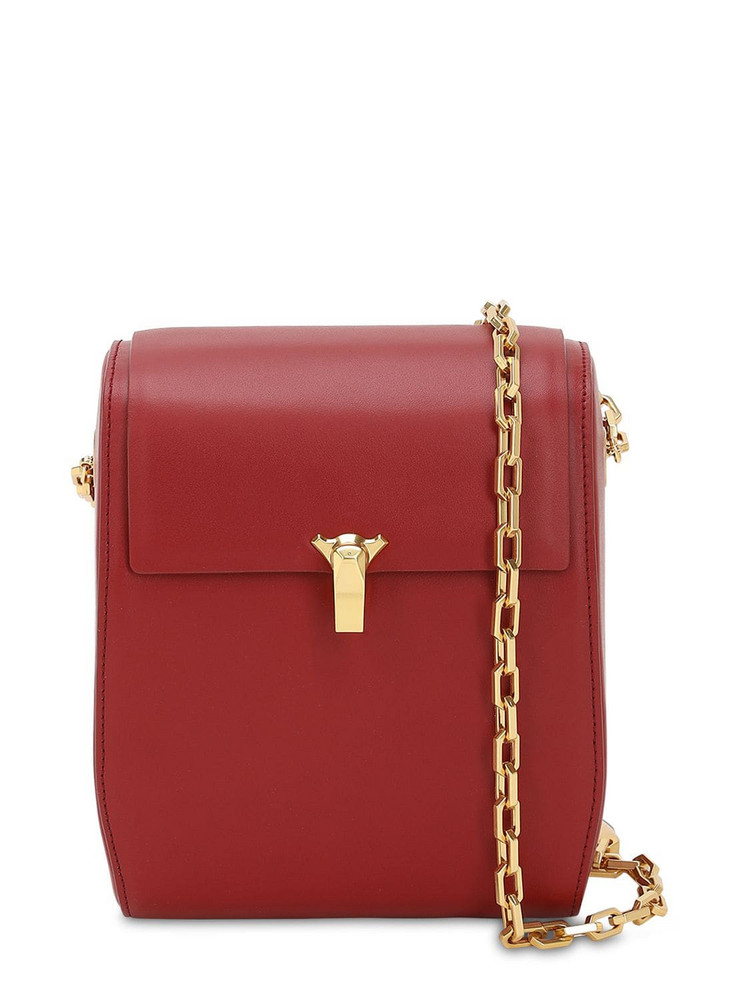 THE VOLON Po Box Smooth Leather Shoulder Bag in red