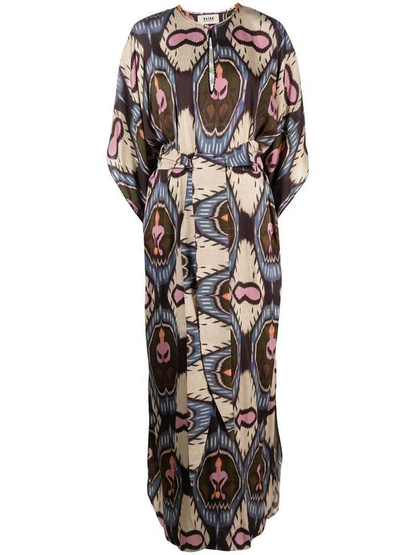 Bazar Deluxe geometric-print long kaftan dress in neutrals