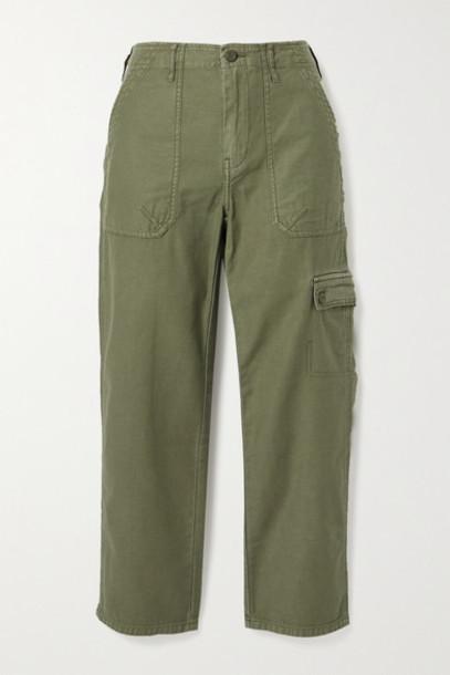 FRAME - Service Cotton-canvas Straight-leg Pants - Army green