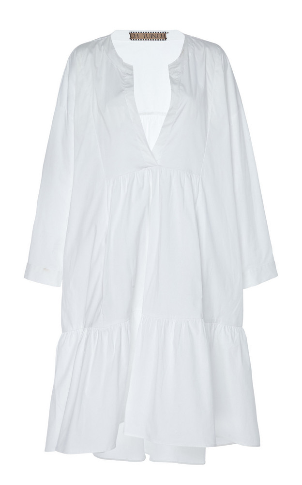 Tuinch Tiered Cotton Trapeze Dress Size: M in white