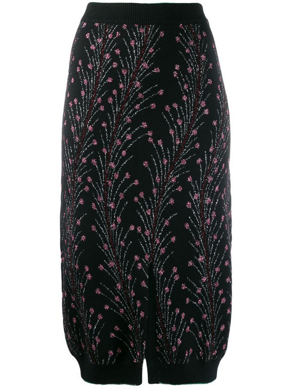 Marco De Vincenzo floral embroidered skirt in black