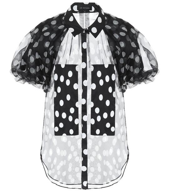 Lee Mathews Polka-dot silk blouse in black