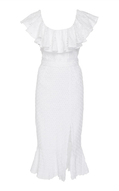 Saloni Ella Off-Shoulder Broderie Anglaise Cotton Midi Dress Size: 10 in white