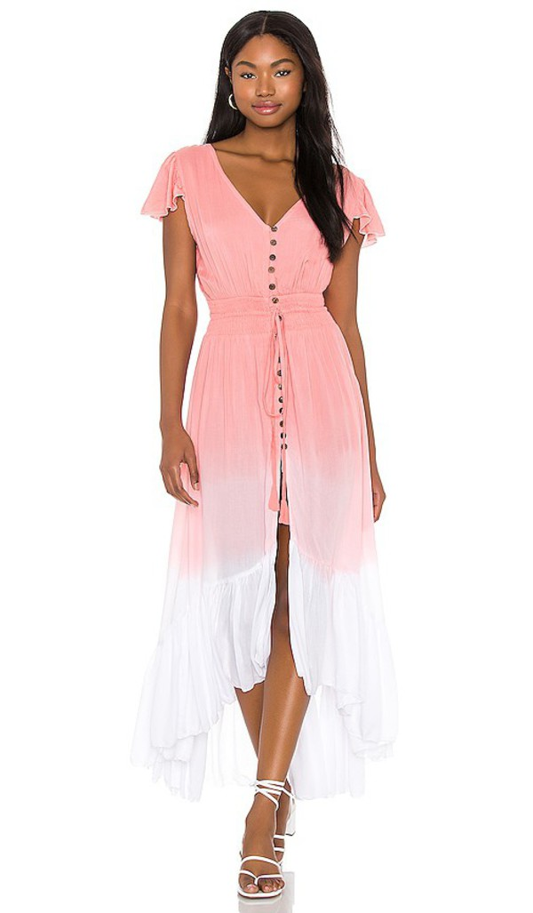 Tiare Hawaii New Moon Maxi Dress in Pink in rose / white