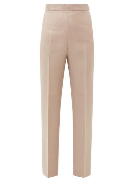 Fendi - High-rise Mohair-blend Trousers - Womens - Beige