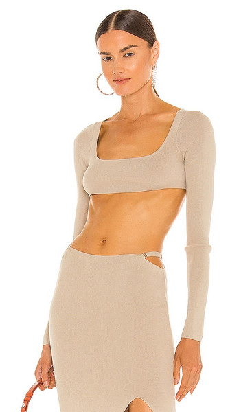 Aya Muse Diamond Knit Top in Neutral in sand