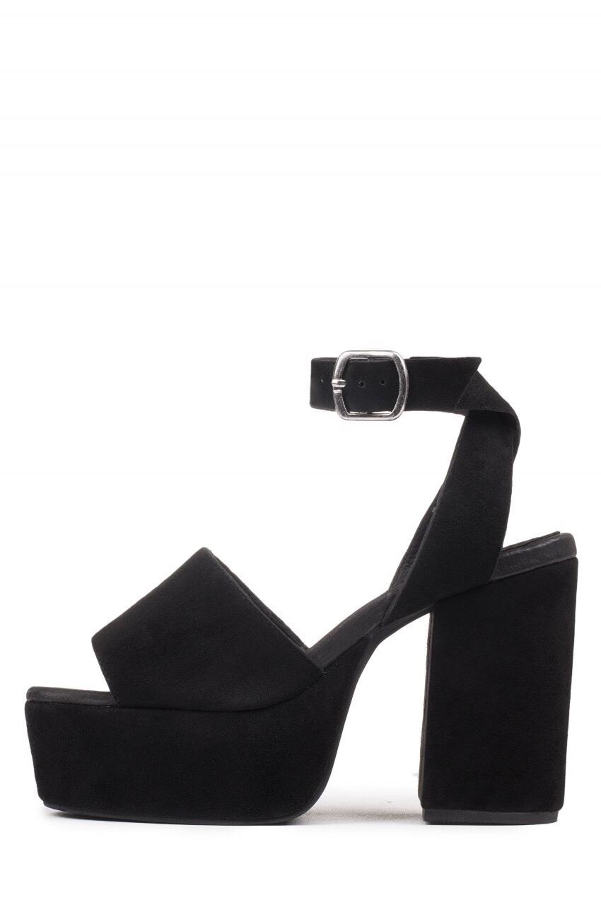 shoes platform shoes heels black sandals suede