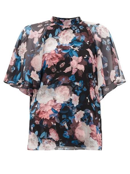 Erdem - Bennett Floral-print Silk Crepe De Chine Blouse - Womens - Black Pink