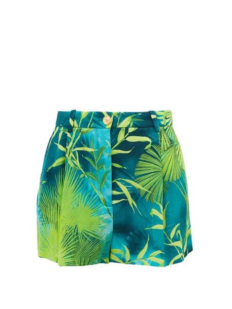Versace - Jungle-print Crepe Shorts - Womens - Green Print