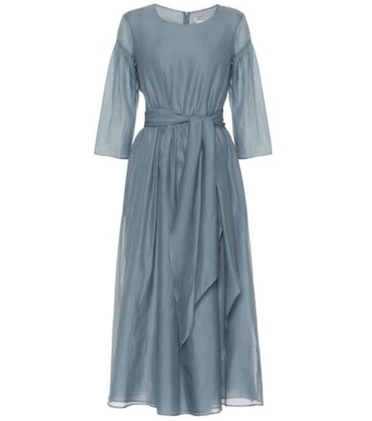 011f1d0ab9 S Max Mara Desio cotton and silk midi dress in blue