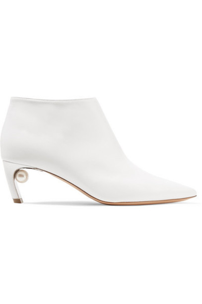 Nicholas Kirkwood - Mira Faux Pearl-embellished Leather Ankle Boots - White