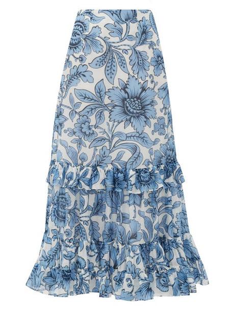 Erdem - Danna Modotti Wallpaper Cotton-blend Skirt - Womens - Blue White