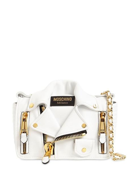 MOSCHINO Biker Leather Shoulder Bag in white