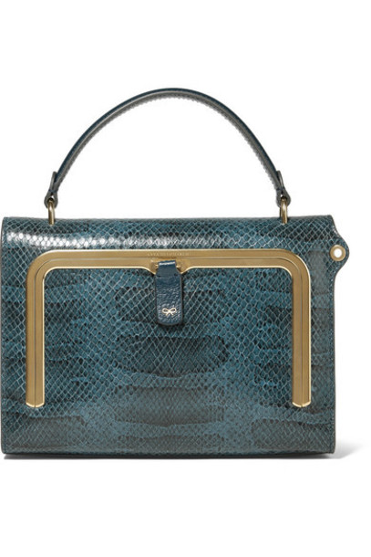Anya Hindmarch - Postbox Small Snake-effect Leather Tote - Storm blue