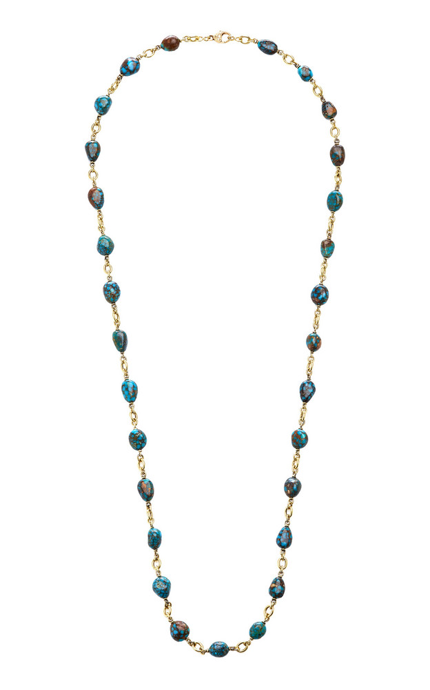 Sylva & Cie Kingman Turquoise 18K Yellow Gold Necklace in multi