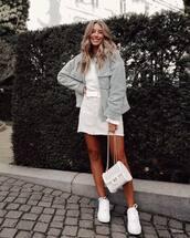 jacket,shearling jacket,mini skirt,white skirt,white sneakers,white bag,white top