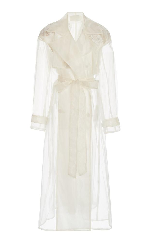 Danielle Frankel Allegra Appliquéd Organza Trench Coat in white