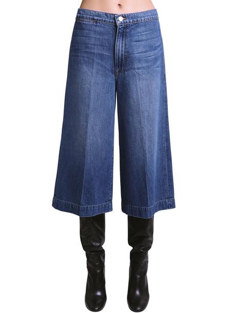 FRAME Cotton Denim Culottes in blue