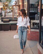 jeans,high waisted jeans,straight jeans,sandals,white shirt,handbag