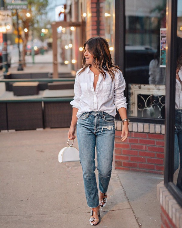 jeans high waisted jeans straight jeans sandals white shirt handbag