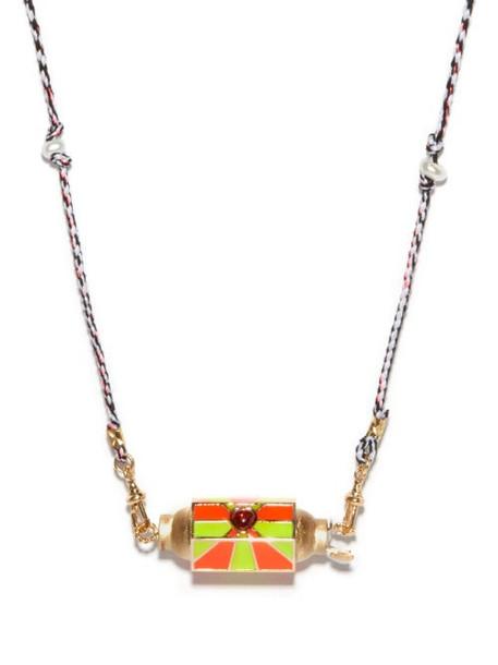 Marie Lichtenberg - Candy Heart Garnet, Pearl & 14kt Gold Necklace - Womens - Multi