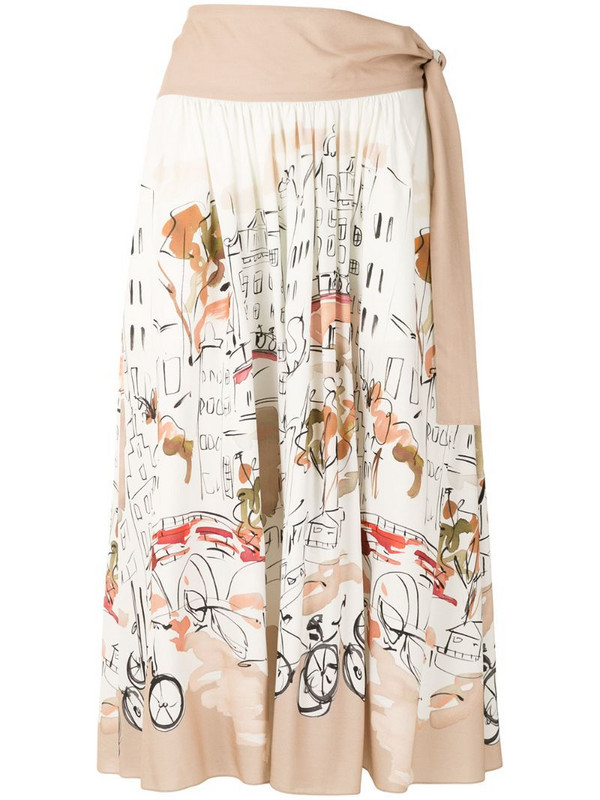 Alcaçuz watercolour-print skirt in white