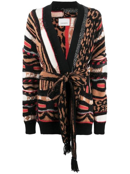 Laneus belted animal pattern cardigan in brown