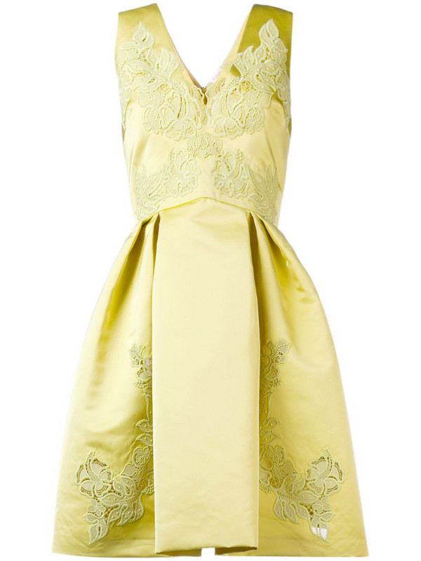 Zuhair Murad embroidered flared dress in yellow