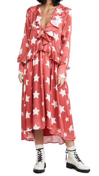 Sister Jane Star Baker Ruffle Midi Dress in red / white