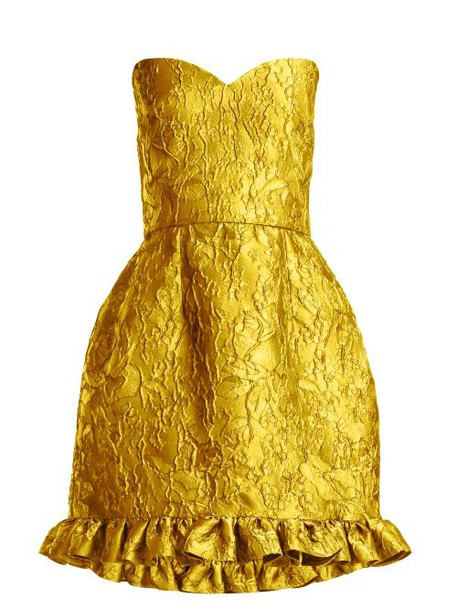 Emilio De La Morena - Golde Floral Jacquard Strapless Mini Dress - Womens - Yellow