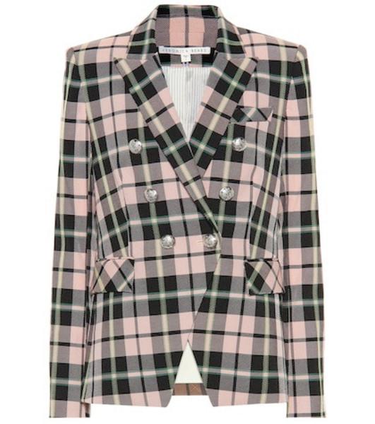 Veronica Beard Miller Dickey checked blazer in pink