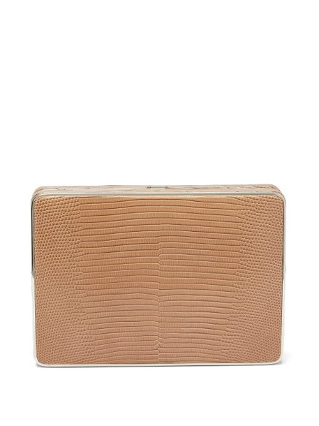 Hunting Season - The Square Compact Lizard Clutch - Womens - Brown
