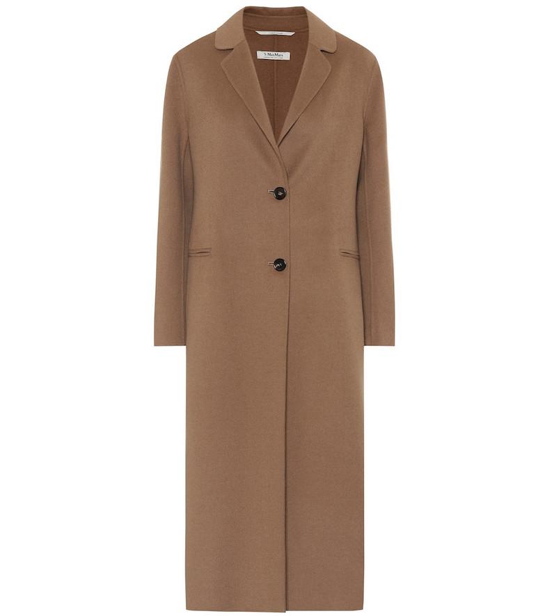 S Max Mara Moda wool and angora coat in brown