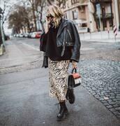 skirt,midi skirt,satin,h&m,black boots,lace up boots,platform boots,black bag,black leather jacket,diesel,turtleneck sweater,black sweater