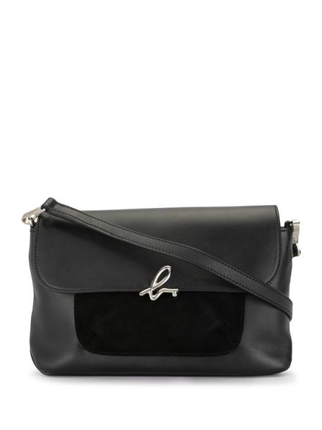 agnès b. contrast-panel cross-body bag in black