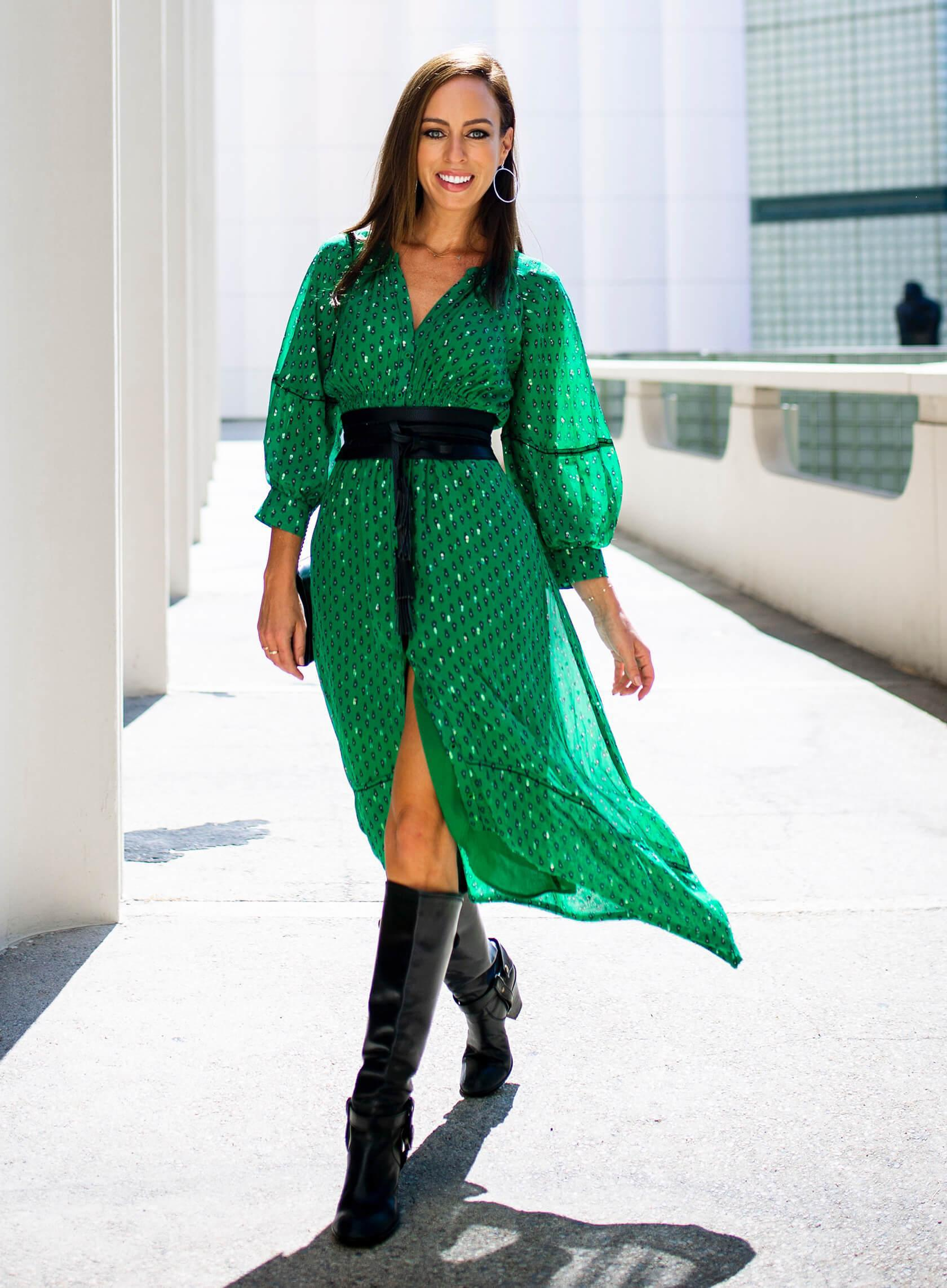 sydne summer's fashion reviews & style tips blogger dress shoes belt green dress knee high boots fall outfits