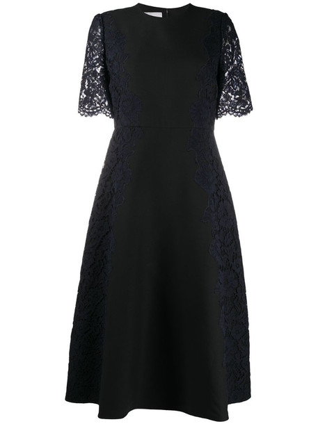 Valentino lace sleeve dress in black