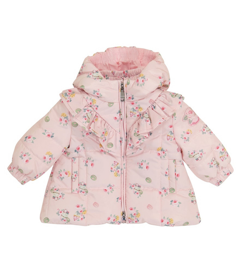 Monnalisa Baby floral quilted coat in pink