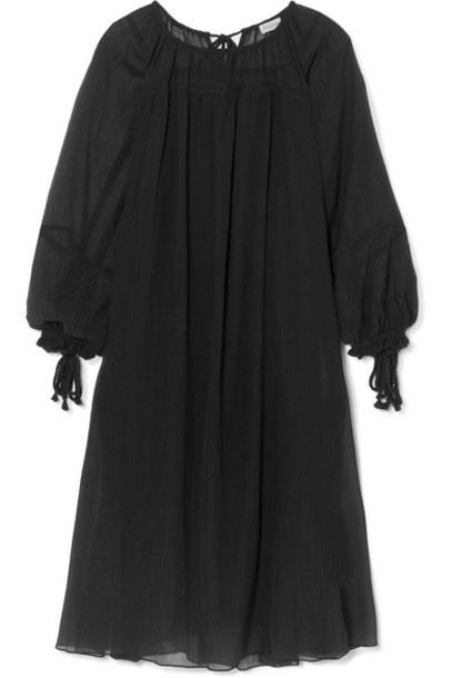 By Malene Birger - Dorie Tasseled Cotton And Silk-blend Crepon Dress - Black
