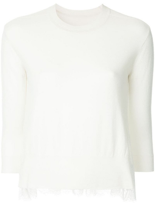 Onefifteen lace panel sweater in white
