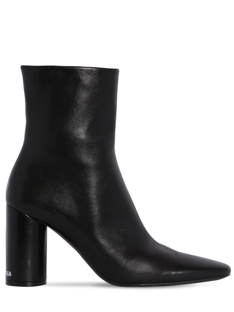 BALENCIAGA 90mm Oval Leather Ankle Boots in black / white