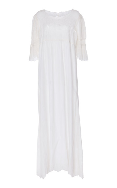 Thierry Colson Tita Lace Cotton Blend Maxi Dress in white