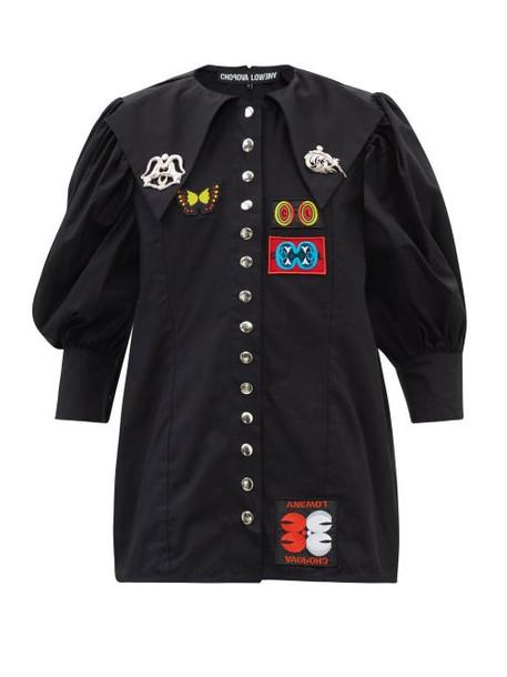 Chopova Lowena - Daze Chelsea-collar Puff-sleeve Cotton Blouse - Womens - Black