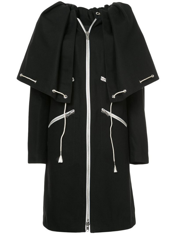 Calvin Klein 205W39nyc drawstring cape coat in black
