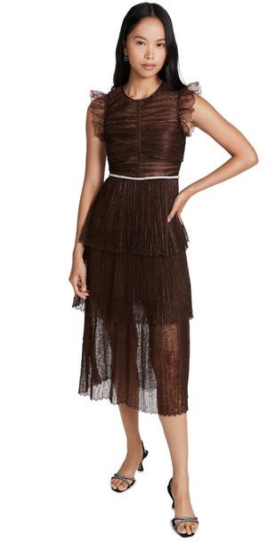 Self Portrait Fine Lace Midi Dress