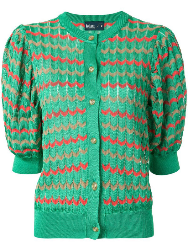 Kolor chevron pattern puff-shoulder cardigan in green