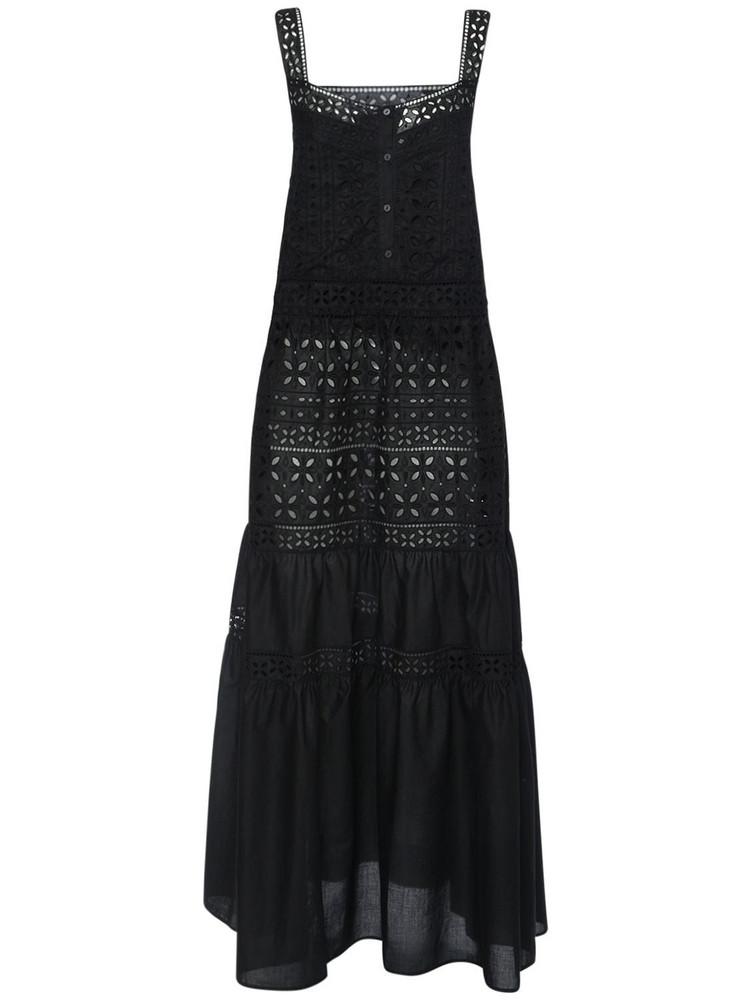 ERMANNO SCERVINO Cotton Eyelet Long Dress in black