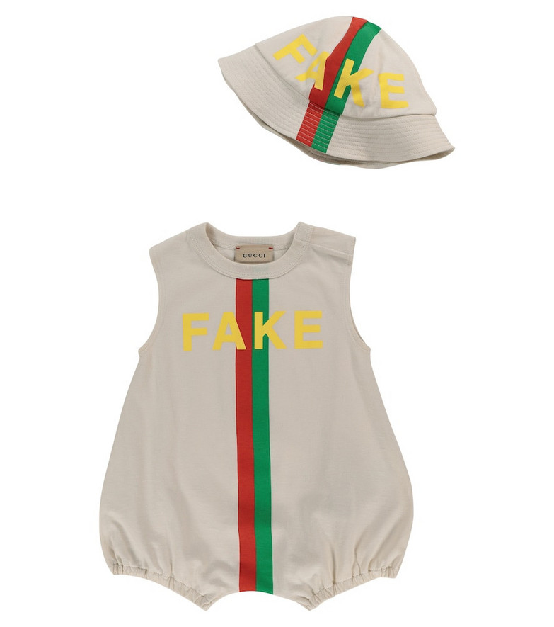 Gucci Kids Baby cotton bodysuit and bucket hat set in white