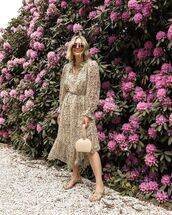 dress,beige dress,flowy dress,handbag,sandal heels