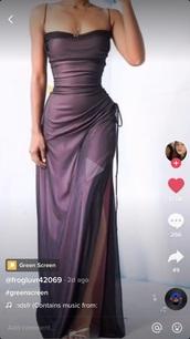 dress,purple,maxi dress,prom dress,slit dress